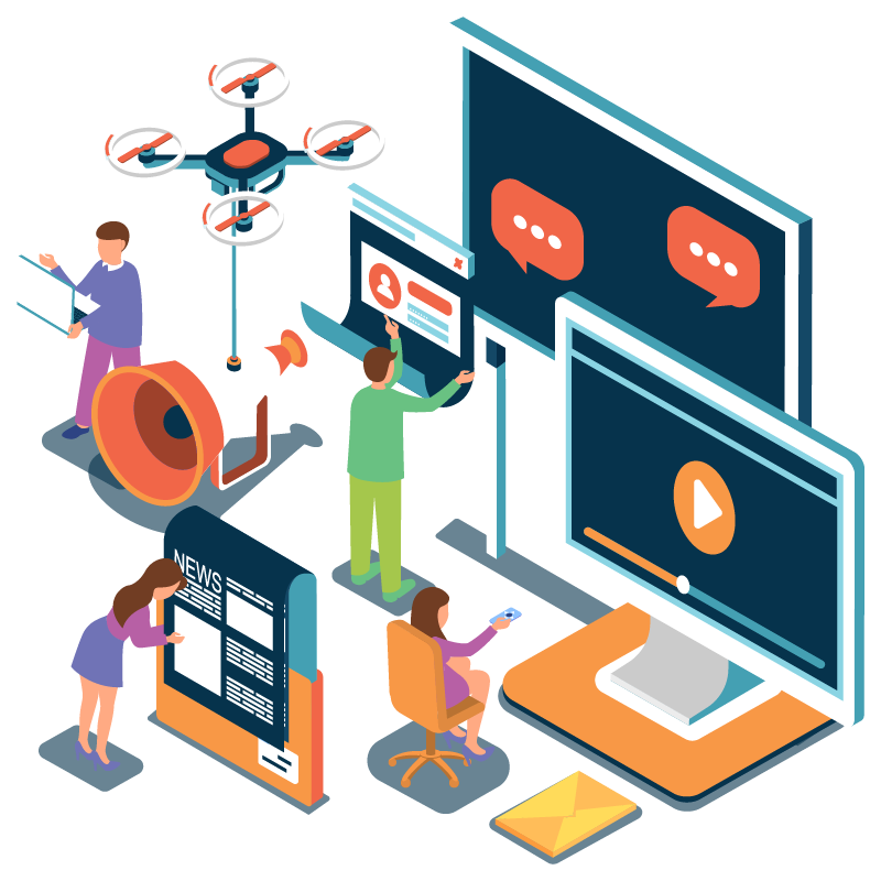 Vector illustration of people using different communication platforms
