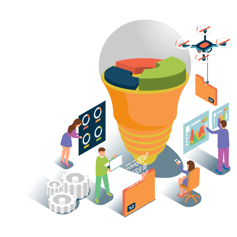 Vector illustration of people gathering insights and data